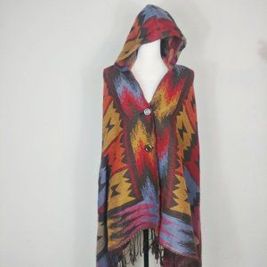 Southwestern Pattern Hooded Cloak Poncho ❣